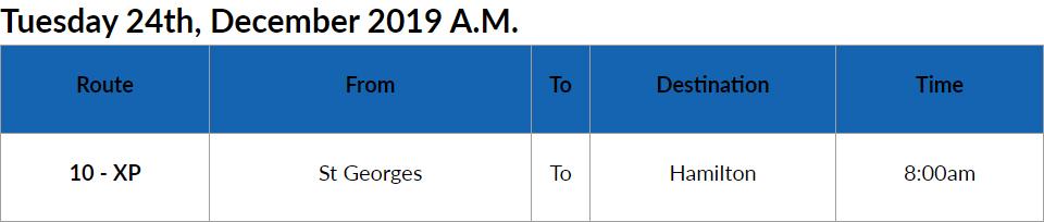 Bus Cancel Bermuda Dec 24 2019