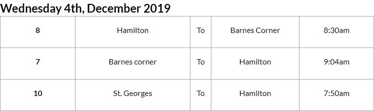 Bus Cancellations AM Bermuda Dec 4 2019