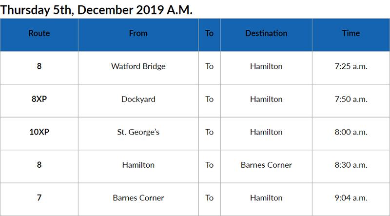 Bus Cancellations AM Bermuda Dec 5 2019
