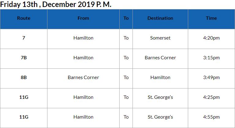 Bus Cancellations PM Bermuda Dec 13 2019