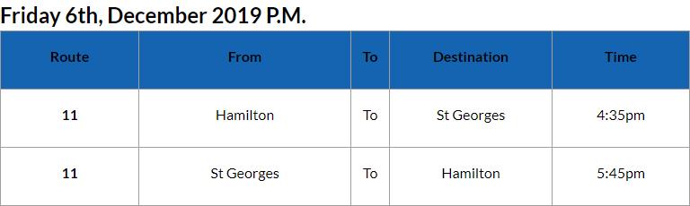 Bus Cancellations PM Bermuda Dec 6 2019