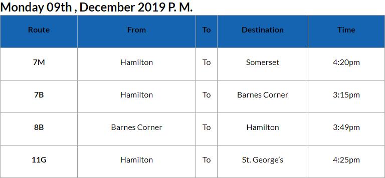 Bus Cancellations PM Bermuda Dec 9 2019