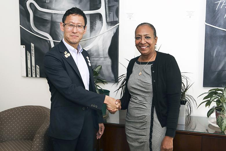 Minister Lovitta Foggo with Mr. Toshihiro Hayashi Bermuda Dec 9 2019 (1)