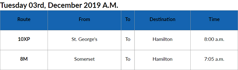 bus cancellations AM Bermuda Dec 3 2019