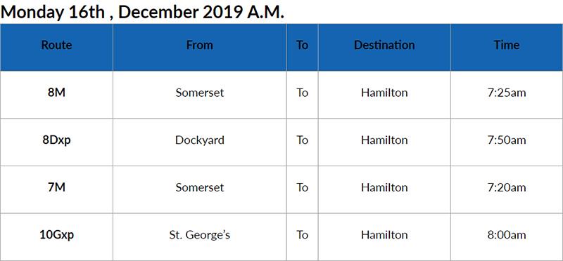bus cancellations Am Bermuda Dec 16 2019