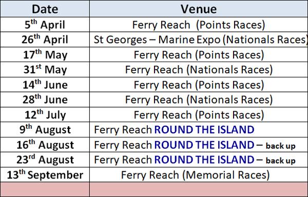 BPBA Schedule Bermuda January 2020