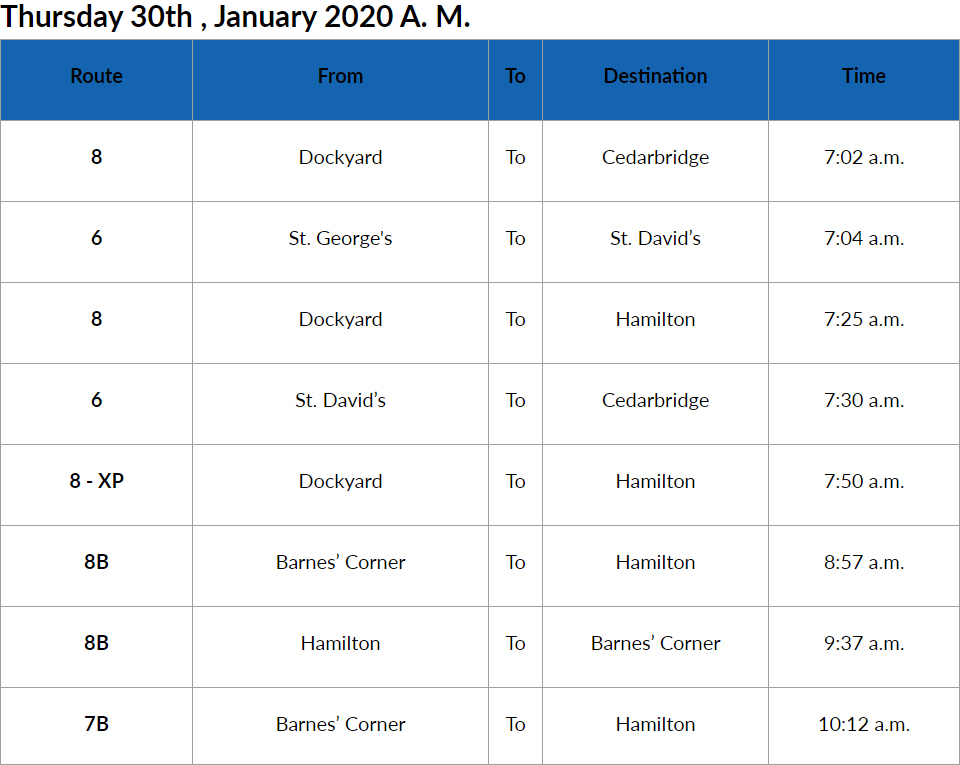 Bus Cancellations AM Bermuda Jan 30 2020