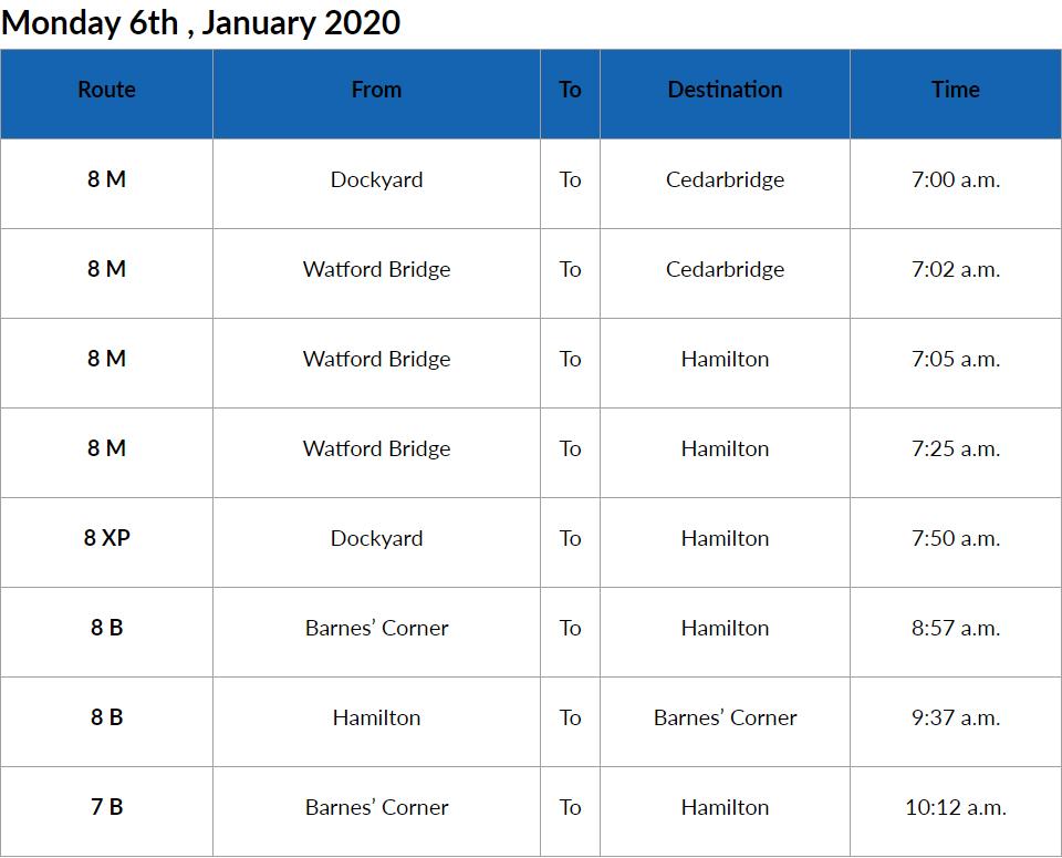 Bus Cancellations AM Bermuda Jan 6 2020