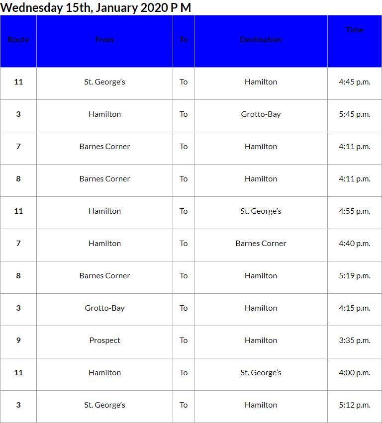 Bus Cancellations PM Bermuda Jan 15 2020