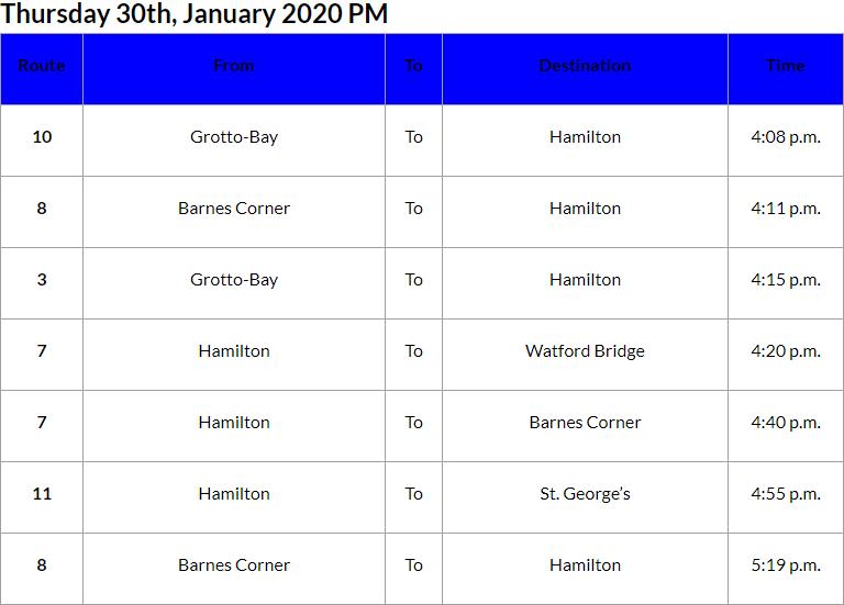 Bus Cancellations PM Bermuda Jan 20 2020