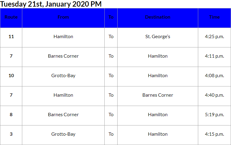 Bus Cancellations PM Bermuda Jan 21 2020