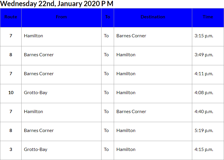 Bus Cancellations PM Bermuda Jan 22 2020