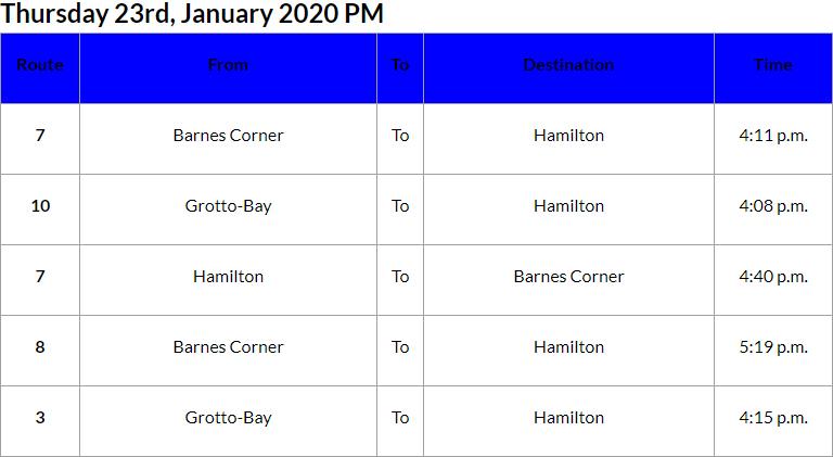 Bus Cancellations PM Bermuda Jan 23 2020