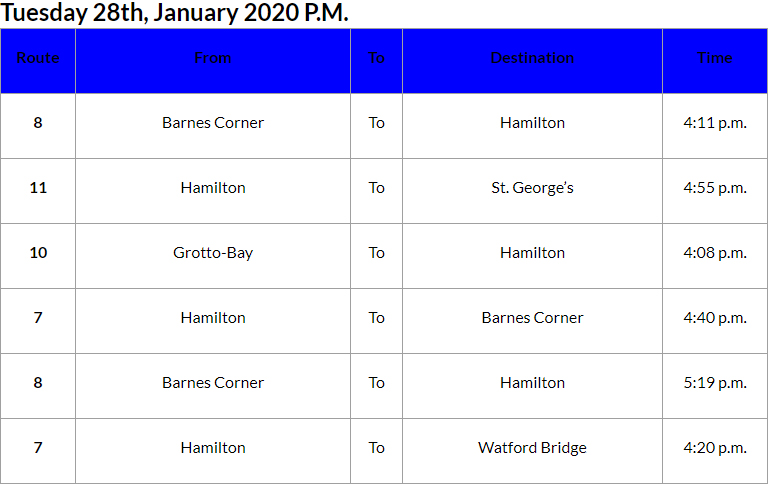 Bus Cancellations PM Bermuda Jan 28 2020