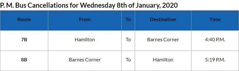 Bus Cancellations PM Bermuda Jan 8 2020