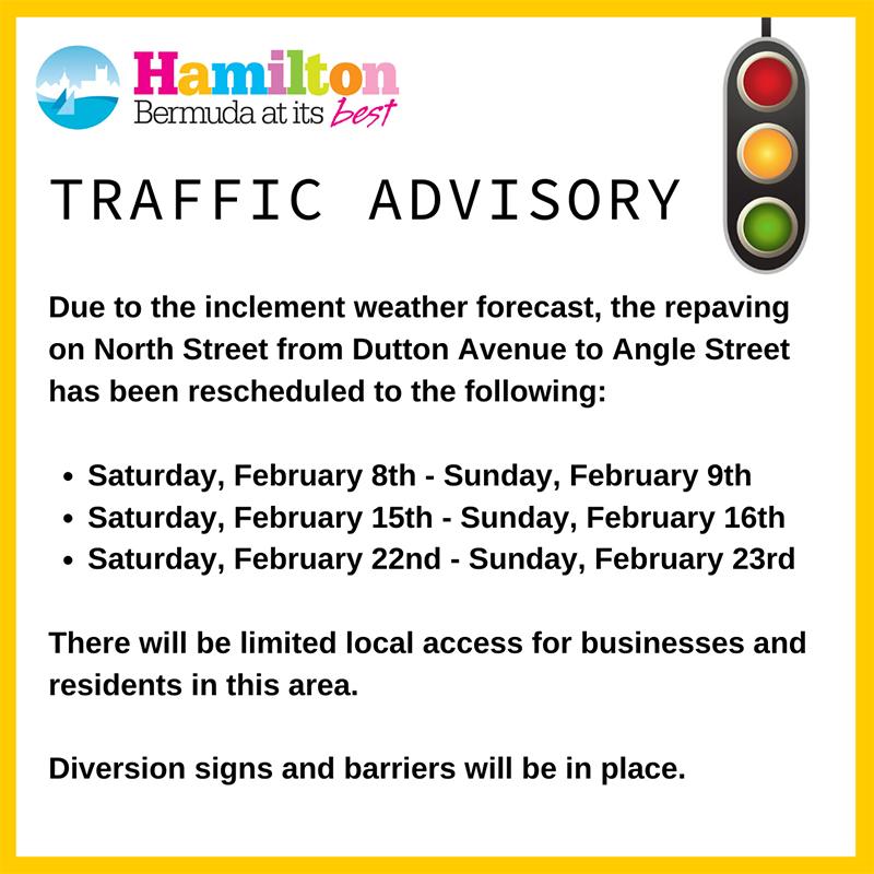 City Of Hamilton Traffic Advisory Bermuda Jan 2020