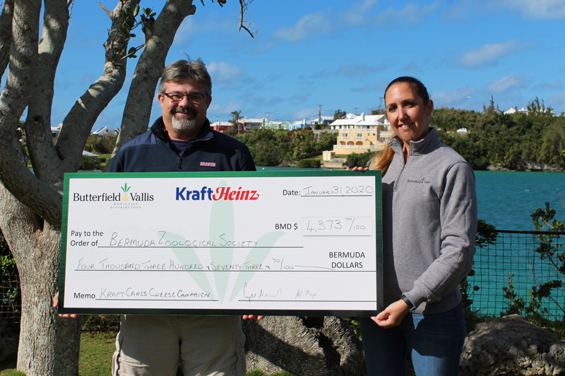 Kraft Cares cheque presentation to BZS Bermuda Jan 2020