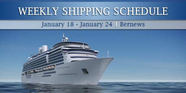Weekly Shipping Schedule TC Jan 18-24 2020
