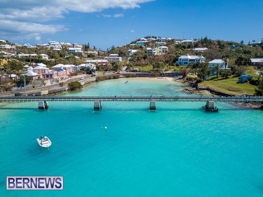 814 - An aerial view of Bailey's Bay walkway on a Bermuda-ful day