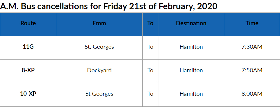 Bus Cancellations AM Bermuda Feb 21 2020