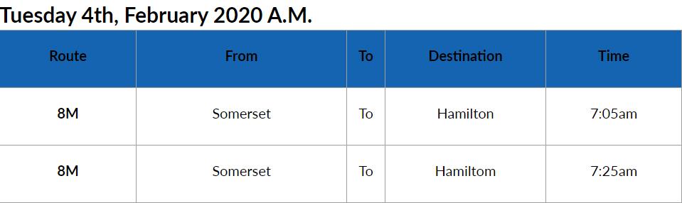 Bus Cancellations AM Bermuda Feb 4 2020