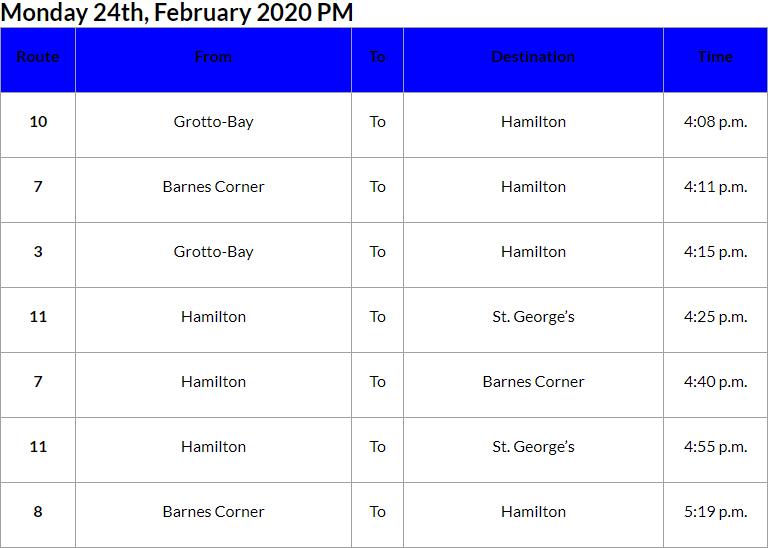 Bus Cancellations PM Bermuda Feb 24 2020