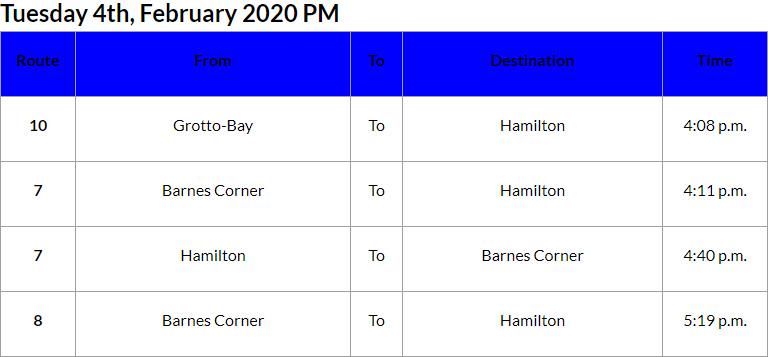 Bus Cancellations PM Bermuda Feb 4 2020