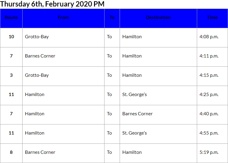 Bus Cancellations PM Bermuda Feb 6 2020