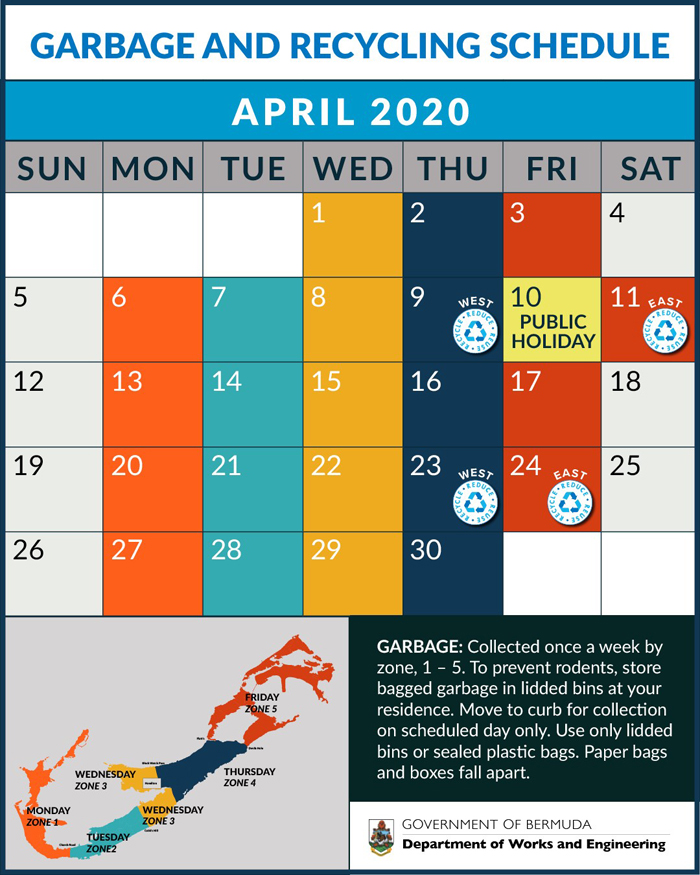 April 2020 Garbage and Recycling Schedule