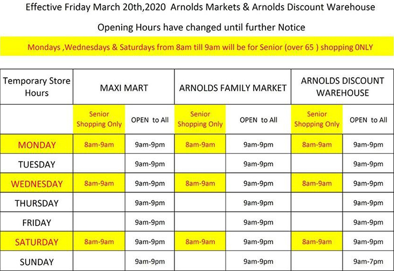 Arnolds Opening Hours Bermuda March 2020
