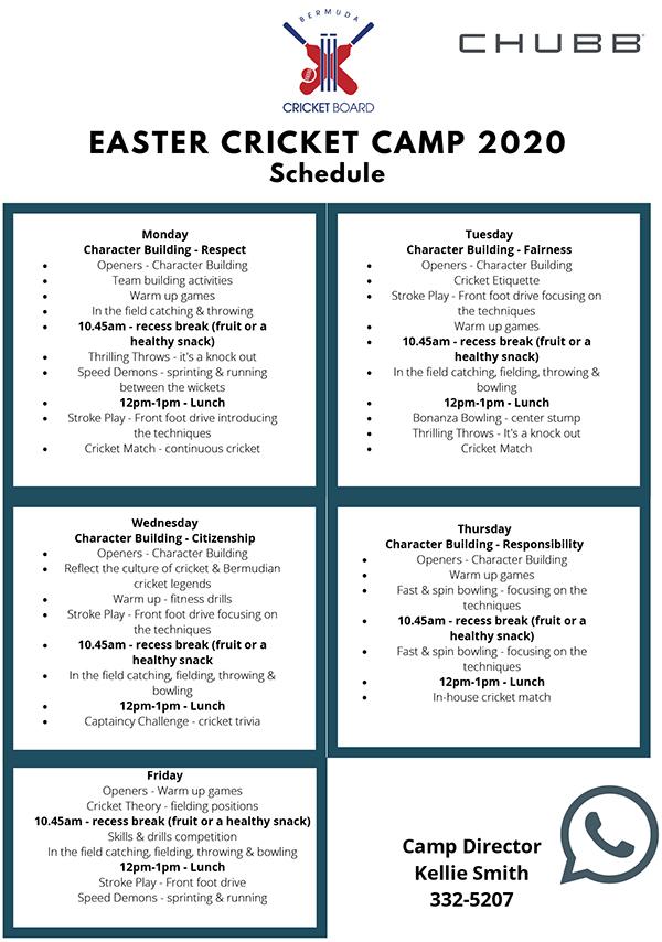 2020 Easter Cricket Camp Flyer
