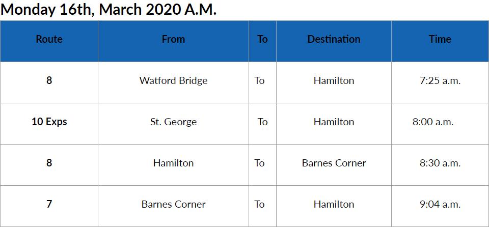 Bus Cancellation AM Bermuda March 16 2020