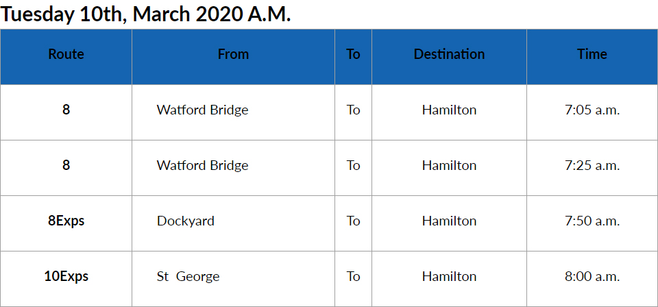 Bus Cancellations AM Bermuda March 10 2020