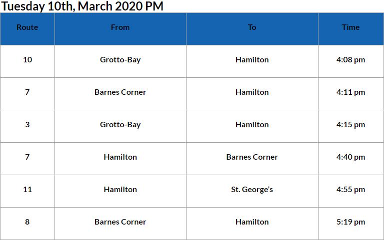 Bus Cancellations PM Bermuda March 10 2020
