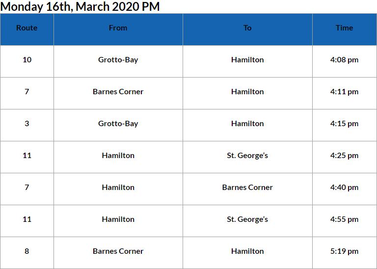 Bus Cancellations PM Bermuda March 16 2020