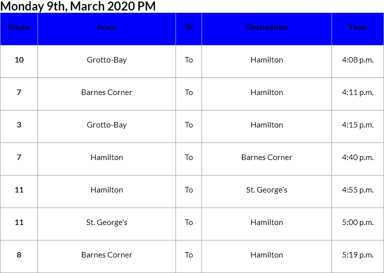 Bus Cancellations PM Bermuda March 9 2020