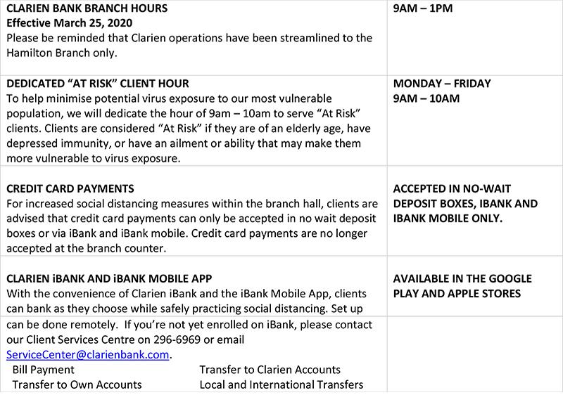 Clarien Amends Operating Hours Bermuda March 2020