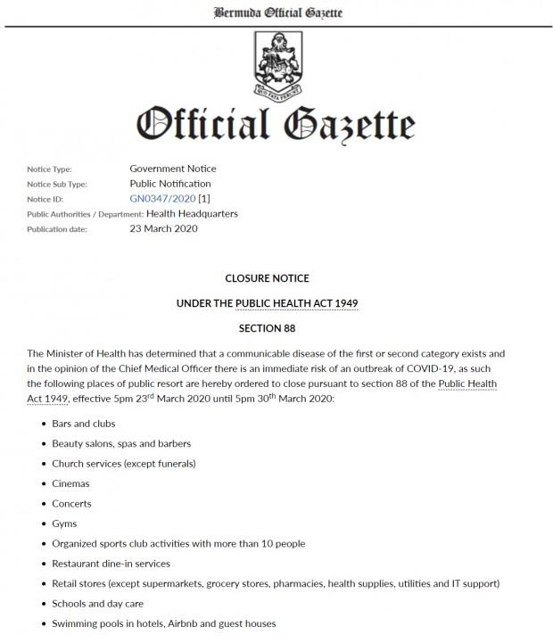 Closure Notice Bermuda March 23 2020  GN0347 2020 2