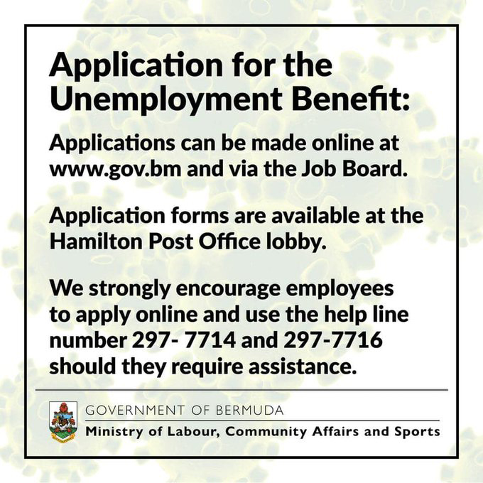Covid19 Unemployment Benefit application Bermuda March 2020