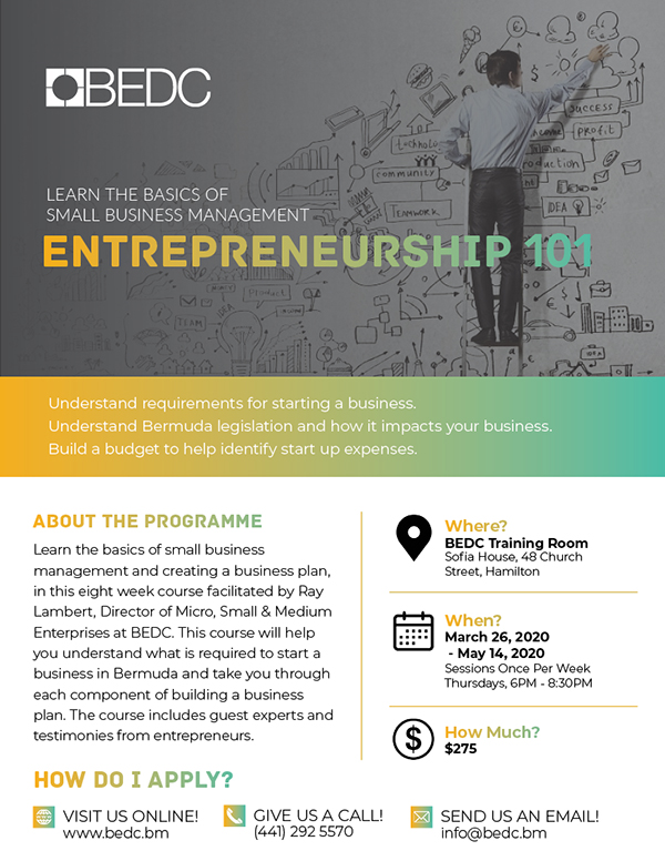 Entrepreneurship 101 Bermuda March 2020