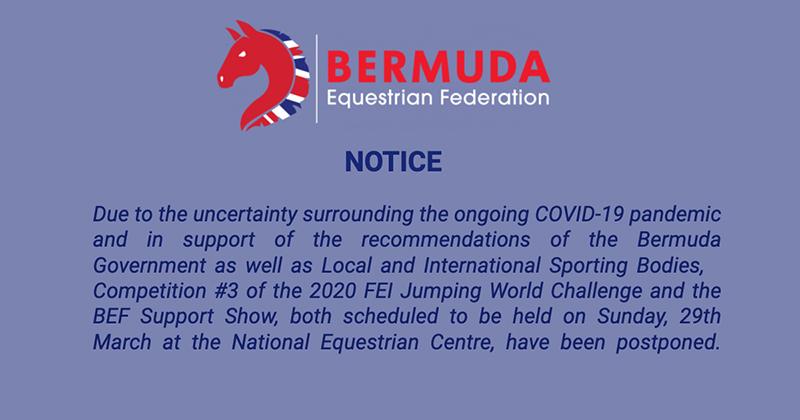 FEI Postponed Bermuda March 2020