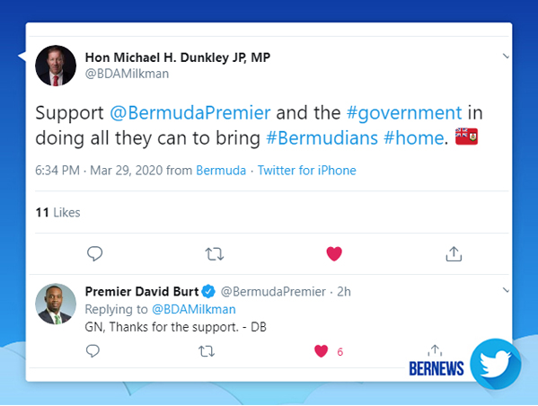 Michael Dunkley Tweet Bermuda March 30 2020