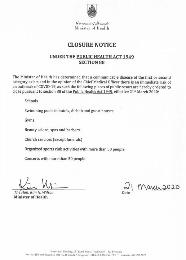 Public Health Act 88 Closure Notice 200321 SIGNED