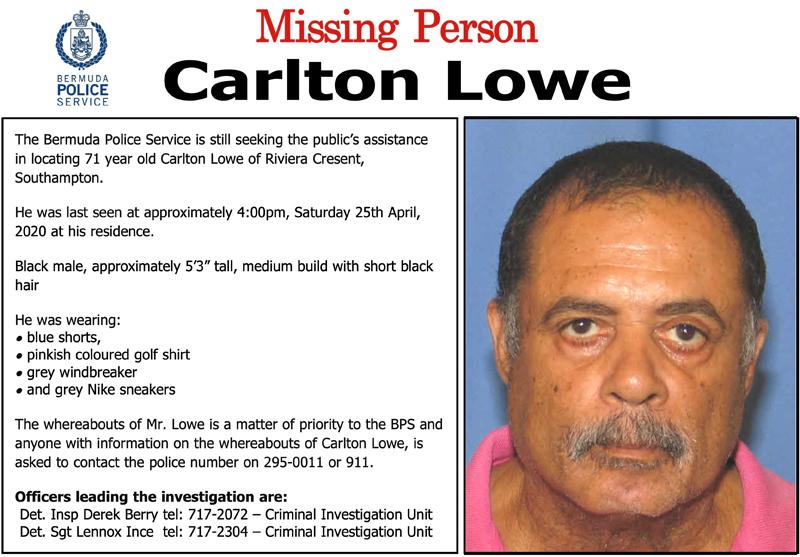 Missing Person Carlton Lowe Bermuda April 2020