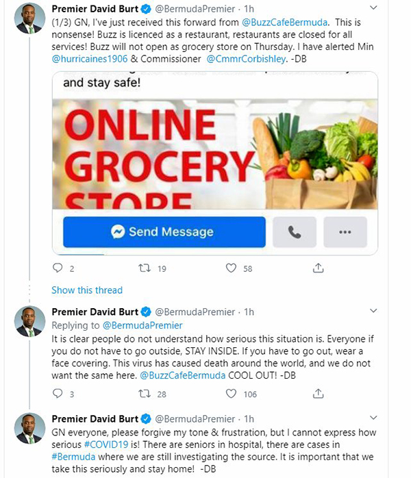 Premier Burt Tweet About Buzz Bermuda April 2020 (2)