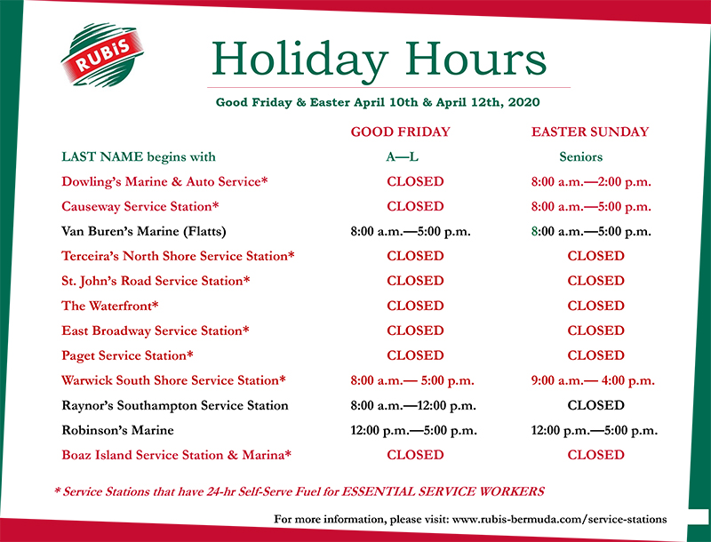 Rubis Retail Holiday Operating Hours Bermuda April 2020