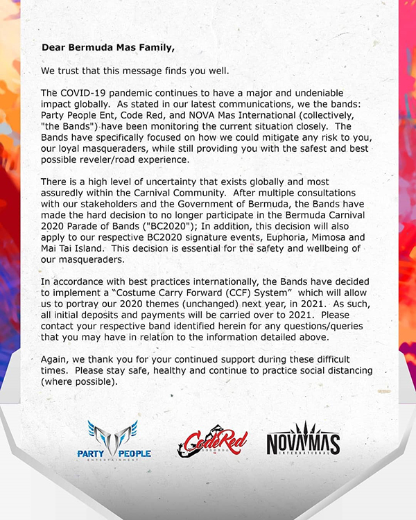 The Bands Covid-19 Bermuda April 2020