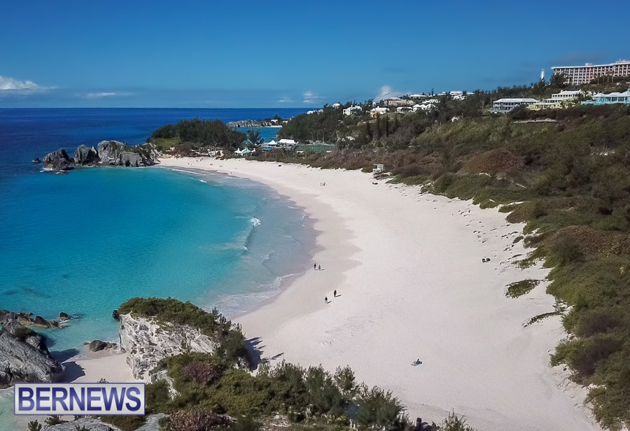 358 - Looking west along Horseshoe Bay beach, one of the busiest Bermuda beaches in the summer