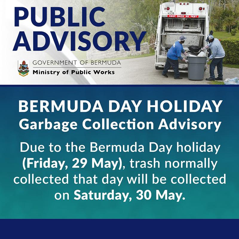 Bermuda Day Holiday Garbage Collection Advisory May 2020