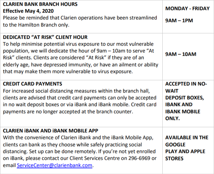 Clarien Bank Branch Hours Bermuda May 1 2020